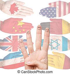 Viele, verschieden, land, Flaggen, Hände