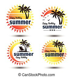 Summer label - Summer holidays design elements set. Retro...