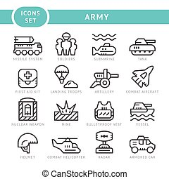 Set line icons of army isolated on white. Vector...