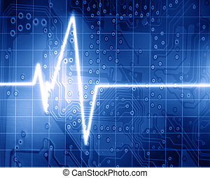 Heart monitor on a dark blue background
