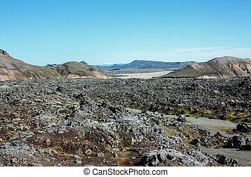Icelandic landscape. Beautiful mountains and volcanic area...