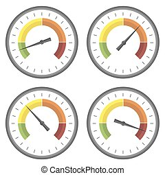 Set of Manometer Icons on White Background Different Gauge...