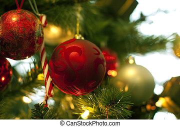 christmas tree decorations close up hanging