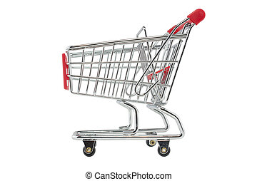 empty shopping trolley shot on a white background