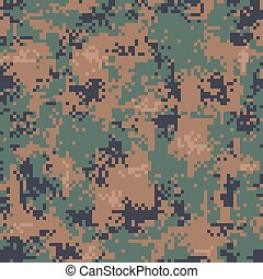 Digital Woodland Camouflage Seamless Pattern - Vector...