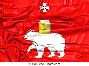 Flag of Perm, Russia - 3D Flag of Perm, Russia Close Up