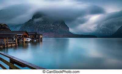 Cloudy day in Hallstatt, Astria - The famous view of the...