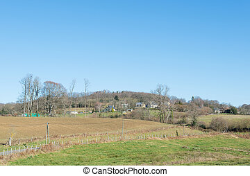 Landscape French Limousin with small village