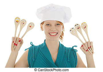 cucchiai, DIVERTENTE, Cuoco, donna