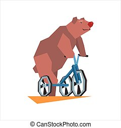 Circus Bear Riding Tricycle Graphic Flat Vector Design...