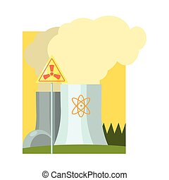 Alternative Energy Nuclear Power Flat Vector Illustration In...
