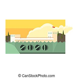 Alternative Energy Hydropower Flat Vector Illustration In...