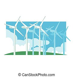 Alternative Energy Wind Power Flat Vector Illustration In...