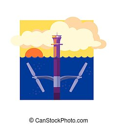 Alternative Energy Tidal Power Flat Vector Illustration In...