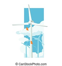 Alternative Energy Wind Farm Flat Vector Illustration In...