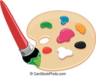 Color Palette and Paintbrush - Vector Illustration of Color...