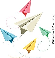 Colorful Paper Plane - Vector Illustration of Colorful Paper...