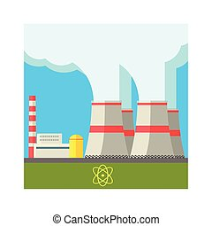 Atomic Power Station Flat Vector Illustration In Simplified...