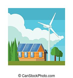 House With Wind Turbine Flat Vector Illustration In...