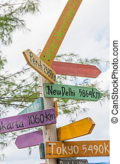 Road signs pointing towards different cities, stock picture