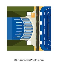 Dam On River From Above Flat Vector Illustration In...