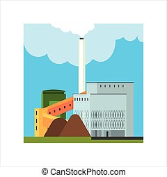 Gravel Factory With Ramp Flat Vector Illustration In...