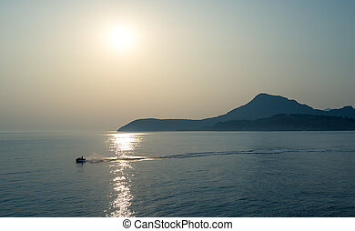 Jetski in the Adriatic sea with mountain background - Jetski...
