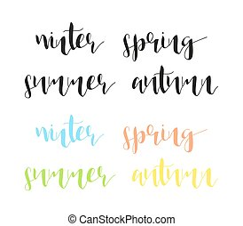 Seasons in calligraphy. Winter and summer. Spring, autumn. -...