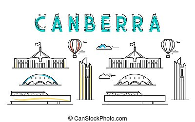 Canberra. Capital city Australia. Sights of Australian town....