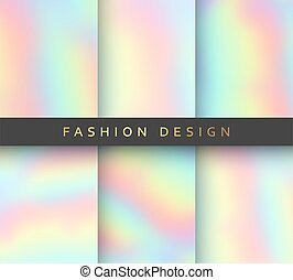 Set 6 realistic holographic backgrounds in different colors...