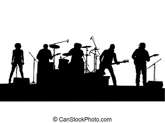 Rock concert - Concert of rock band on a white background
