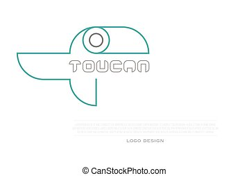toucan design - thin line, tropical bird icon and corporate...