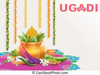 Greeting card for holiday Ugadi - Happy Ugadi Template...