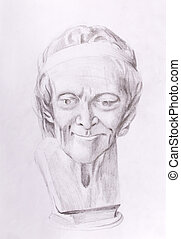 drawing of philosopher voltaire sculpture on abstract...