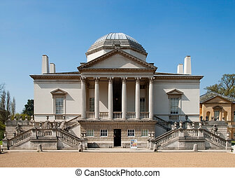Chiswick House in London - Chiswick House, main entrance, in...