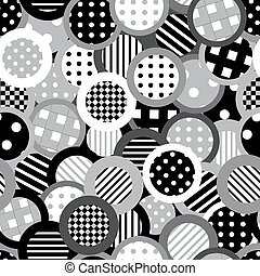 Black and white background with circles