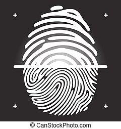 finger print scan - Fingerprint scan White ingerprint on...