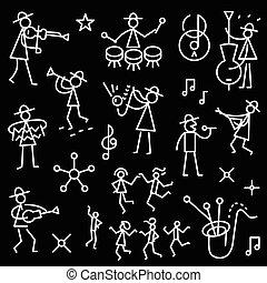 jazz band icons - jazz band - set thin line icons , design...