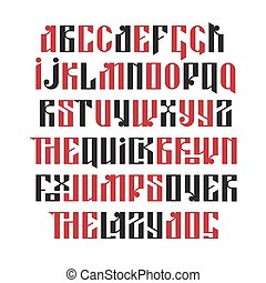 The latin stylization of Old slavic font Custom type vintage...