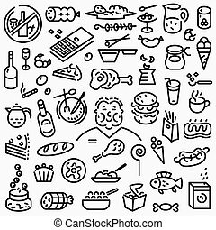 fast food icons - fast food - set thin line icons , design...