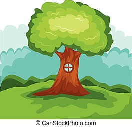 illustration  tree house vector