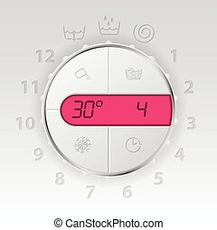 Wash machine control panel with pink lcd showing temperature...