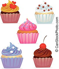 Different Set of Cupcakes - Vector Illustration of Different...