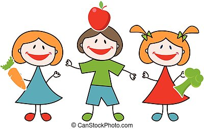 Doodle happy kids with fresh fruits and vegetables
