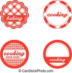 Vintage retro bakery labels, red gingham