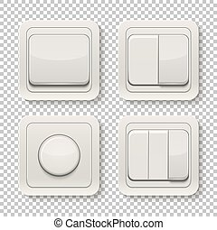 Set of switches. - Set of realistic switches isolated on a...