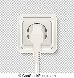 Power socket with cable plugged