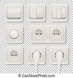 Power sockets and switches set
