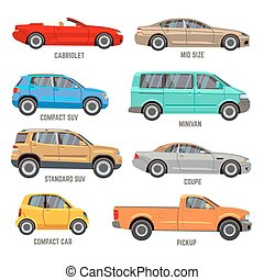 Car types flat icons - Car types vector flat icons....