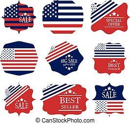 Vector vintage sale label set design elements in american flag color